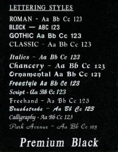 Lettering fonts for headstones and grave markers